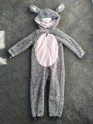 M&S Girls Thick Warm Teddy Sherpa Fleece Fluffy All In One Grey Pink 5-6 Years