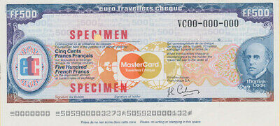 "France: 1984 Thos Cook & Mastercard 500 Franc ""SPECIMEN"" EURO TRAVELLERS CHEQUE"