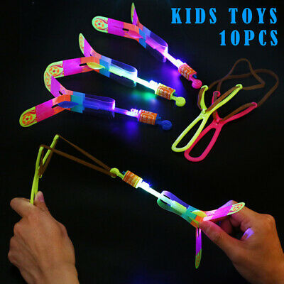 Luminous Slingshots LED Light Catapult Arrows Flying Toys Children Kids Toy X 10