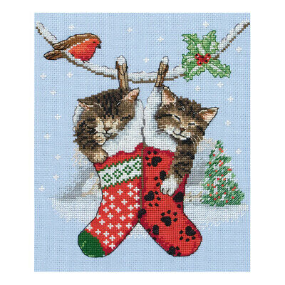 ANCHOR | Counted Cross Stitch Kit: Christmas Kittens - Wall Hanging | PCE0504