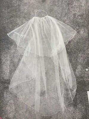 Ivory Wedding Veil, Beautiful Diamante Detail, With Hair Clips