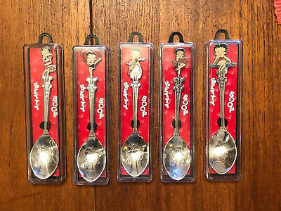 "Lot Of 5 Betty Boop Vintage Collectible Spoons 4 1/2"" Long-All Different W/ Case"
