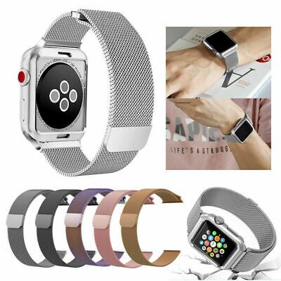 For Apple iWatch 44mm 42mm Magnetic Loop Stainless Steel Strap Band 3 4 5 series