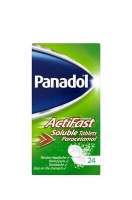 Panadol ActiFast Soluble Tablets for Tension Headache Period Pain 24 - x 3 boxes