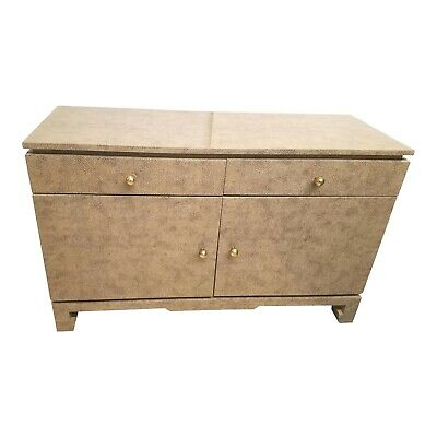 Asian Modern Karl Springer Style Shagreen Cabinet Or Console
