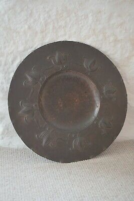 Antique Arts And Crafts Copper Dish / Charger Large Size Floral Decoration