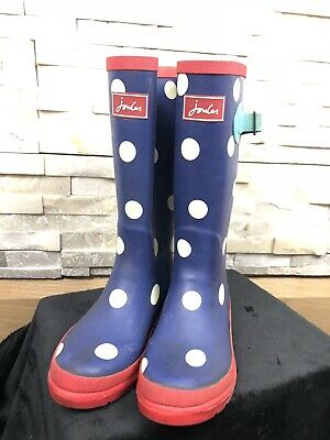 Joules Girls Size UK 1 US 2 Polka Dot Navy Red Classic Wellies Wellingtons Boots