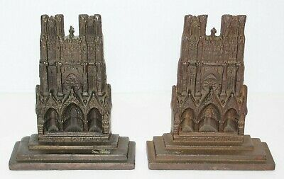 Antique Bronzed Cast Iron Reims Cathedral Religious Church Book Ends c1910