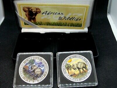 2017 Somalian ELEPHANT DAY & NIGHT Colorized Silver (2 Coin) AFRICAN WILDLIFE
