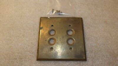 Vintage Brass Button Switch Plate Cover 2 Gang Salvage D