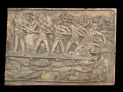 Large Ancient Relief Egyptian Sculpture Plaque Wall fishing hieroglyphic Antique