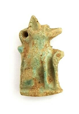 Anubis Amulet Ancient Faience Egypt Egyptian Necklace Rare Nile Mummy Antique