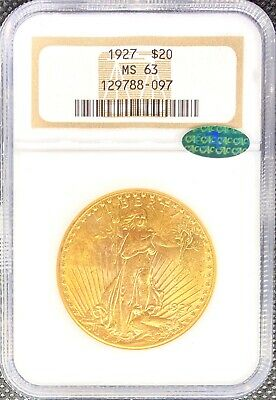1927 • $20 American Gold Double Eagle Saint Gaudens MS63 NGC CAC Certified Coin!