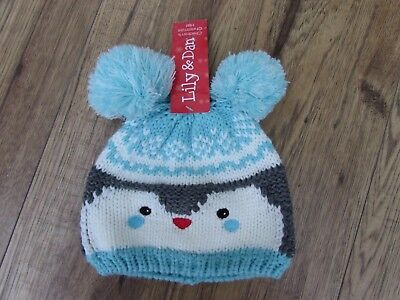 Baby Girls Blue & White Cute Knitted Penguin Hat Bobble Ears age 0-6 months