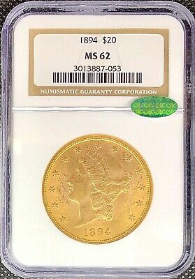 1894 • $20 Liberty Head Gold American Double Eagle MS62 NGC CAC Certified Coin!