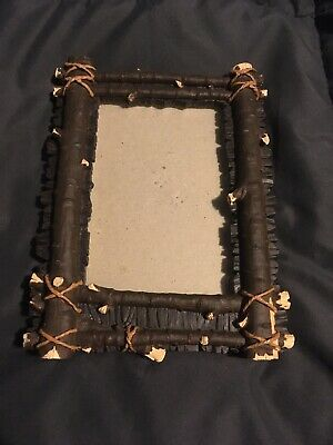 Ceramic Log Cabin Picture Frame Hand Painted Rustic Country Easel