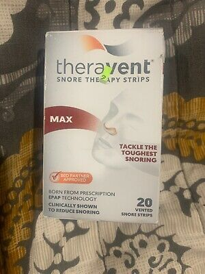 Theravent Snore Therapy Strips Max Strength, 20 Strips~ Exp 6/20