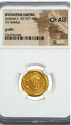 Wow Byzantine Gold Coin Solidus Justinian I (527-565 AD) NGC AU CLIPPED graffiti