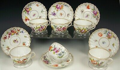 Antique And Painted Dresden Flowers Hermann Ohme Cups & Saucers Set Of 6