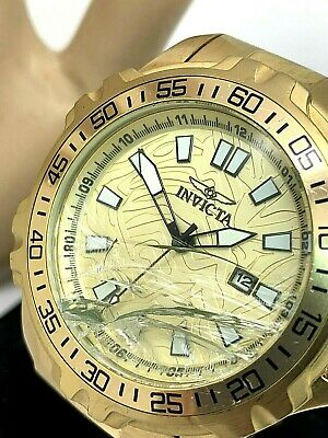 Invicta Pro Diver 25786 Men's Gold Dial Yellow Gold Tone Watch BROKEN CRYSTAL