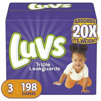 Size 3 Luvs Ultra Leakguards Disposable Baby Diapers,198Count,ONE MONTH SUPPLY