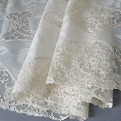 """Fine Vintage Creamy French ALENCON LACE + Embroidered ROSES Runner 42""""X15"""""""