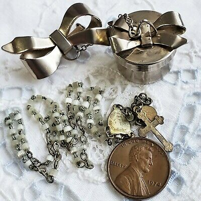 Miniature Rosary, Tiny Box with Bow Brooch, Vintage French Rosaries & Locket Bow