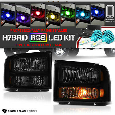 2005-2007 Ford SuperDuty F250 F350 SD new Headlights [MULTI-COLOR LED LOW BEAM]