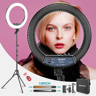 Neewer Bi-color 18-inch LED Ring Light with Stand and Bag for Makeup Selfie