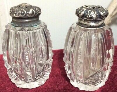 RARE Antique Cherub Head Cut Crystal Glass & Sterling Silver Salt Pepper Shakers