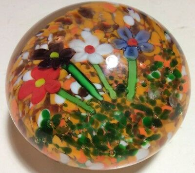 Vintage Murano Art Glass Paperweight. Beautiful Multiple Color of Flowers.