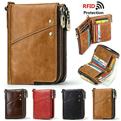 RFID Wallet Leather Zip Coin Purse Credit Card Coin Holder Money Clip Wallet Men