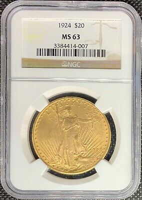 1924 • $20 American Gold Double Eagle Saint Gaudens • MS63 NGC • LUSTROUS Coin!!