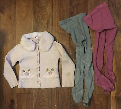 Little Girls Monsoon Pink Fairy Cardigan & 2 Pairs Gap Sparkly Tights Age 4-6