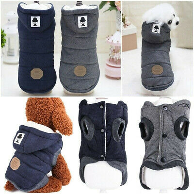 Winter Dog Coats Pet Cat Puppy Chihuahua Clothes Hoodie Warm for Small Dog UK
