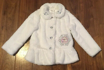 Genuine Girls Disney Store Frozen Princess Queen Elsa Faux Fur Coat Jacket Age 4