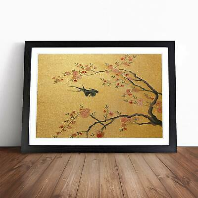 Flying Bird Flowers Floral Animal Asian Cui Bai Wall Art Framed Picture Print