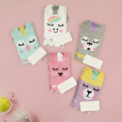 Kids Girls Animal Pattern Cartoon Ankle Socks Cute 6-8.5 9-12 12.5-3.5 with Ears