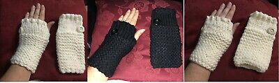 ladies gloves Winter autumn thick knitted stretch fingerless Black cream white