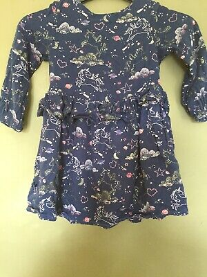 Lovely Unicorn Marks And Spencer Girls Dress Size 4-5 Years. Fully Lined.