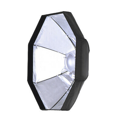 """8 Pole 80cm/31.5"""" Silver/Black Foldable Collapsible  Dish Octagon R9H3"""