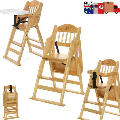 Tray + Foldable Baby High Chair Feeding WOODEN Highchair Natural Adjustable High