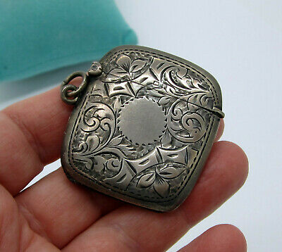 Estate Vintage Antique Rare W H S Sterling Silver Ornate Hinged Pill Box Pendant