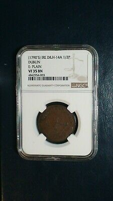 1790'S Ireland HALF PENNY NGC VF35 BN D & H - 14A 1/2P Coin PRICED TO SELL NOW!