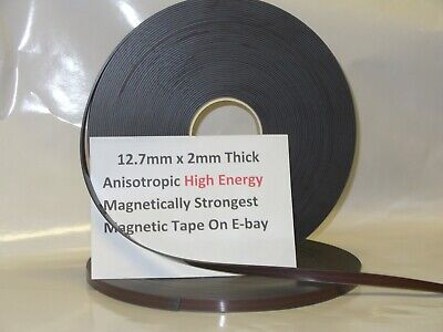 Magnetic Tape,Strip Self Adhesive 12.7mm x 2mm  Anisotropoic Strong High Energy