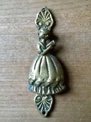 Vintage Brass Door Knocker Female Figure Small Antique