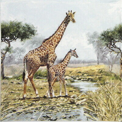 4x Paper Napkins for Party, Decoupage - Giraffes