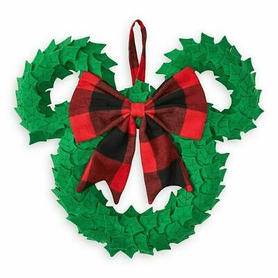 Disney Parks Yuletide Farmhouse Mickey Icon Plush Holiday Christmas Door Wreath