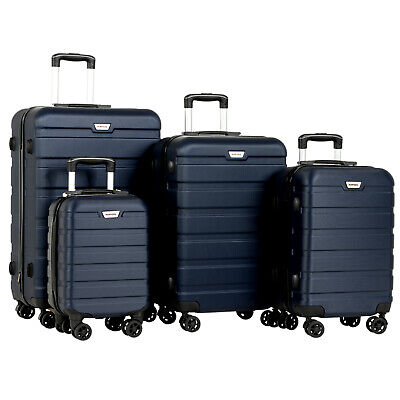 """4PCS 16"""" 20"""" 24""""&28"""" Luggage Travel Set  Trolley Spinner Carry On Suitcase Blue"""
