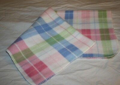 Pastel Plaid Fleece BABY BLANKET White Soft Blue Pink Green Lovey Warm Small